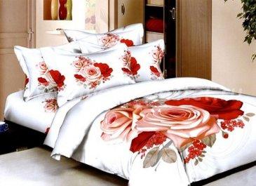 Кпб сатин 2 спальный (красно-розовый букет) в интернет-магазине Моя постель