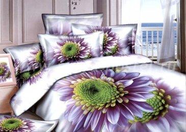 Постельное белье евро стандарта сатин 2 наволочки (фиолетовая гербера) в интернет-магазине Моя постель