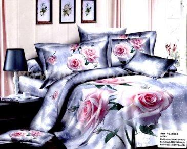 Кпб сатин Евро 2 наволочки (бледно-розовые розы) в интернет-магазине Моя постель