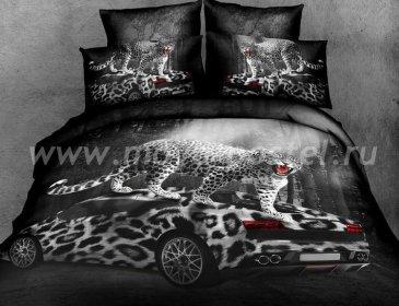 Кпб сатин евро 4 наволочки (леопард на машине) в интернет-магазине Моя постель