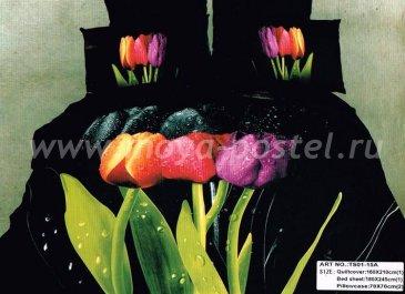Кпб сатин 1,5 спальный (три разноцветных тюльпана) в интернет-магазине Моя постель