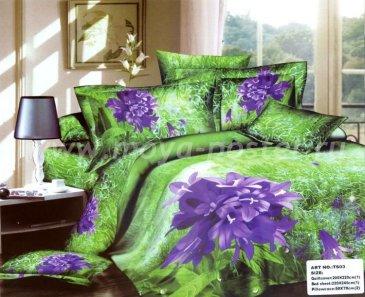 Кпб сатин Евро 2 наволочки (фиолетовые колокольчики) в интернет-магазине Моя постель