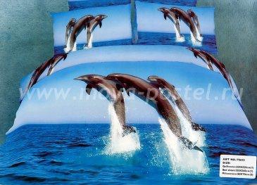 Кпб сатин Евро 2 наволочки (дельфины) в интернет-магазине Моя постель