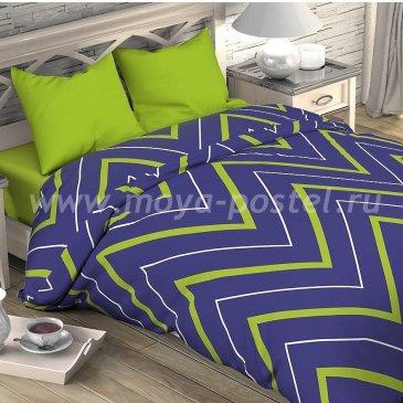 Постельное белье Этель ETP-207-4 Зигзаги зелено-синие в интернет-магазине Моя постель