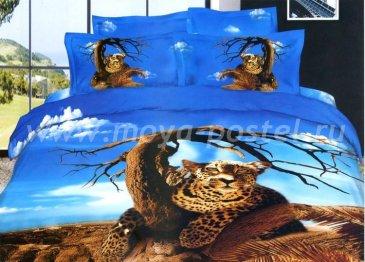 Кпб сатин Евро 2 наволочки (леопард на дереве) в интернет-магазине Моя постель