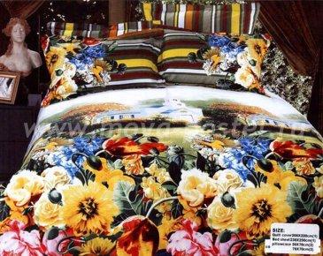 Кпб сатин евро 4 наволочки (цветочная поляна) в интернет-магазине Моя постель