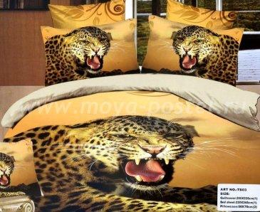 Кпб сатин Евро 2 наволочки (рычащий леопард) в интернет-магазине Моя постель