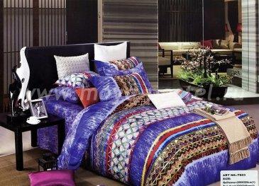 Кпб сатин Евро 2 наволочки (синий орнамент) в интернет-магазине Моя постель