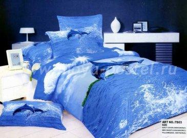Кпб сатин Евро 2 наволочки (дельфины в море) в интернет-магазине Моя постель