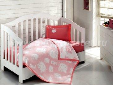 Детский КПБ Hello Kitty BEBE с покрывалом (красный) в интернет-магазине Моя постель