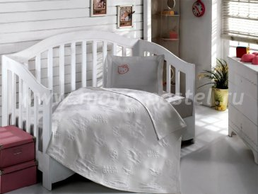 Детский КПБ Hello Kitty BEBE с покрывалом (серый) в интернет-магазине Моя постель