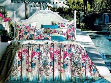 Кпб сатин Евро 2 наволочки (полосы с цветами) в интернет-магазине Моя постель