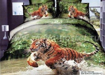 Кпб сатин Семейный 2 наволочки (тигр в горной реке) в интернет-магазине Моя постель