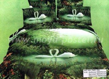 Кпб сатин 1,5 спальный (белые лебеди на озере) в интернет-магазине Моя постель