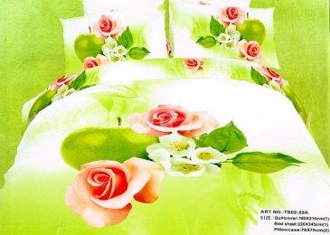 Кпб сатин 2 спальный (розы на салатовом) в интернет-магазине Моя постель