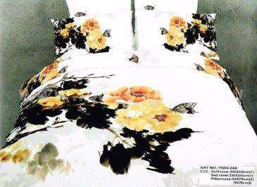 Кпб сатин евро 4 наволочки (акварельные желтые пионы) в интернет-магазине Моя постель