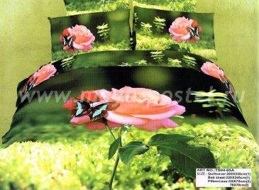 Кпб сатин евро 4 наволочки (бабочка на розовой розе) в интернет-магазине Моя постель
