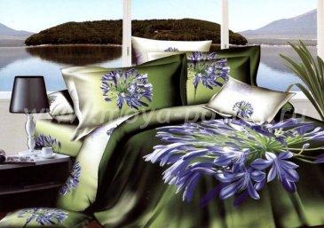 Кпб сатин евро 4 наволочки (фиолетовые цветы) в интернет-магазине Моя постель