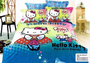 Кпб сатин Евро 2 наволочки (Hello Kitty) в интернет-магазине Моя постель