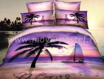 Кпб сатин евро 4 наволочки (закат в тропиках) в интернет-магазине Моя постель