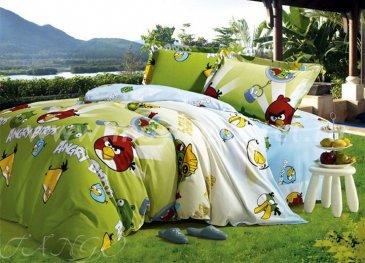 Кпб Фланель Евро 2 наволочки (Angry Birds салатовый) в интернет-магазине Моя постель