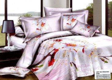 Кпб сатин Евро 2 наволочки (цветы вишни на лиловом) в интернет-магазине Моя постель