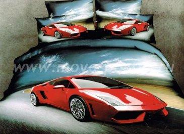 Кпб сатин евро 4 наволочки (красный автомобиль) в интернет-магазине Моя постель