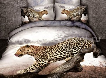Кпб сатин Семейный 2 наволочки (леопард под пасмурным небом) в интернет-магазине Моя постель