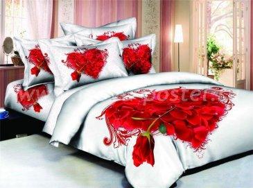 Кпб сатин Семейный 2 наволочки (сердце из лепестков) в интернет-магазине Моя постель