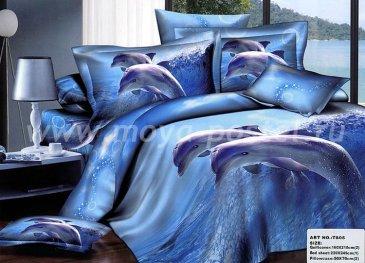 Семейное постельное белье сатин 2 наволочки (два дельфина) в интернет-магазине Моя постель