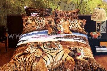 Кпб сатин евро 4 наволочки (тигриное семейство) в интернет-магазине Моя постель