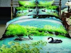 Кпб сатин евро 4 наволочки (черные лебеди) в интернет-магазине Моя постель