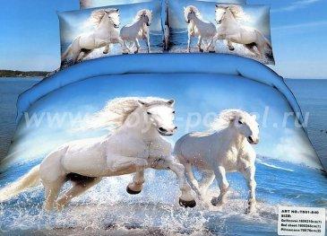 Постельное белье TS04-840 евро 4 наволочки (белые лошади) в интернет-магазине Моя постель