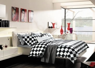 Кпб сатин Семейный 2 наволочки (черно-белый ромб) в интернет-магазине Моя постель