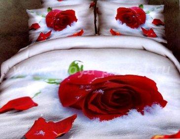 Кпб сатин Семейный 2 наволочки (розы на снегу) в интернет-магазине Моя постель