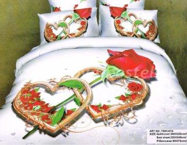Семейное постельное белье сатин 2 наволочки (два сердца и роза) в интернет-магазине Моя постель
