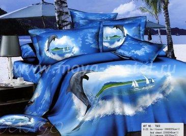 Кпб сатин 2 спальный (дельфин и парусники) в интернет-магазине Моя постель