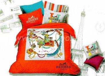 Saten Brands полутороспальный BB01-12 (Hermes Paris оранжевый) в интернет-магазине Моя постель