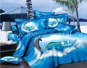 Кпб сатин Евро 2 наволочки (дельфин и парусники) в интернет-магазине Моя постель