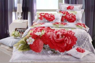 Кпб сатин Евро 2 наволочки (розы и клубничка) в интернет-магазине Моя постель