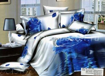 Кпб сатин 1,5 спальный TS01-49A (синяя роза с кольцом) в интернет-магазине Моя постель