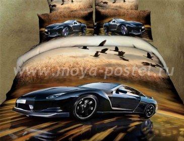 Кпб сатин Евро 2 наволочки (черный автомобиль) в интернет-магазине Моя постель