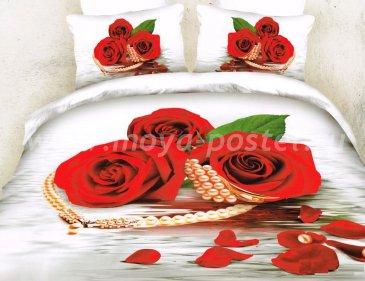 Кпб сатин Евро 2 наволочки (розы и бусы) в интернет-магазине Моя постель