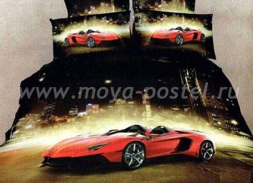 Кпб сатин Евро 2 наволочки (авто в ночном городе) в интернет-магазине Моя постель