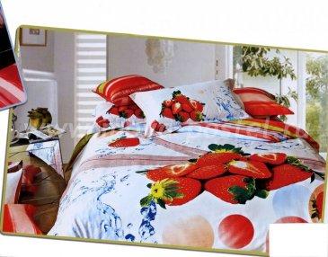 Кпб сатин Семейный 2 наволочки (клубника) в интернет-магазине Моя постель