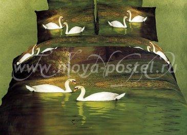 Кпб сатин 2 спальный (лебеди на озере) в интернет-магазине Моя постель