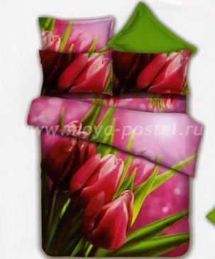 Кпб сатин Евро 2 наволочки (тюльпаны на розовом) в интернет-магазине Моя постель