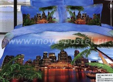 Кпб сатин Евро 2 наволочки (ночной город в тропиках) в интернет-магазине Моя постель