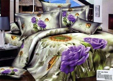 Кпб сатин евро 4 наволочки (голубые розы) в интернет-магазине Моя постель