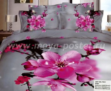 Кпб сатин евро 4 наволочки (розовый цветок на сером) в интернет-магазине Моя постель